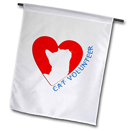 3dRose Alexis Design - Animals Red Heart Love - Red Heart, White cat Silhouette Inside. Cat Volunteer Blue Text - 12 x 18 inch Garden Flag (fl_313521_1)