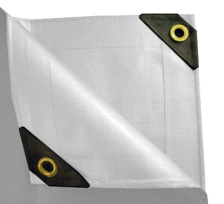 TRIPLE COATED LAMINIATION WATER RESISTANT POLYETHYLENE 10 x 16 Heavy Duty Canopy Tarp - white FINISHED SIZE : 9FT 6IN X 15FT 6IN by UST