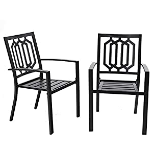PHI VILLA Patio Dining Chairs Outdoor Metal Chairs Set of 2 Stackable Bistro Deck Chairs Set for Garden Backyard Lawn…