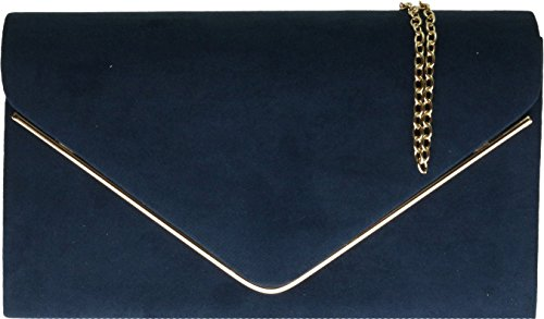Envelope amp;G Nude Ladies Bag Clutch Navy Frame H Plain Suede Design Metallic Faux YdnRwU