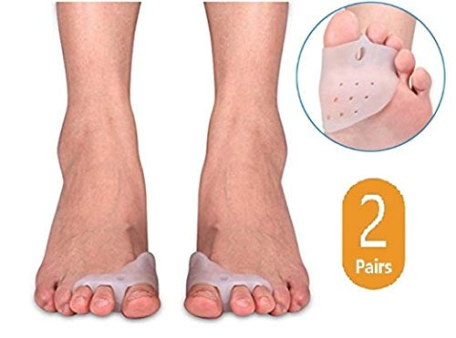 2 Pairs Gel Toe Separator for Hammer Toe with Forefoot Cushion Pad, Silicon Toe Spacer Hallux Valgus Corrector for Men and Women,Gel Cushion,Easy Wear in Shoes Duorui