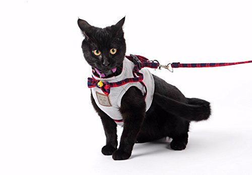 Bestag-Cat-Harnesses-Traction-Kit-Elegant-British-Style-Jacket-with-Leash-and-Collar-Medium-Gray