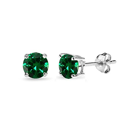 5 Mm Emerald Earrings (Sterling Silver Simulated Emerald 5mm Round-Cut Solitaire Stud Earrings)