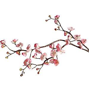 MARJON FlowersArtificial Flowers,Fake Flowers Silk Flowers Dried Flowers Valentine Gift Vintage Bouquet Artificial Silk Fake Flowers Plum Blossom Floral Wedding Bouquet Party Decor (Pink) 94