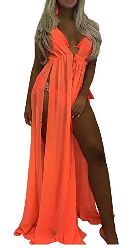 Solido Brevi Scollo V Donne Sexy Spacco Vestiti A Delle Chiffon Cromoncent In Arancione Maniche E6qxFP8B