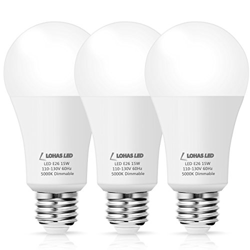 LOHAS LED 15W Light Bulbs, A19 Medium Light Bulb, 120V Dimmable Lights, 100W Equivalent Bulb, Daylight 5000k E26 Screw Base 1380lm LED Light for General Purpose, Home and Commercial Lighting, 3Pack