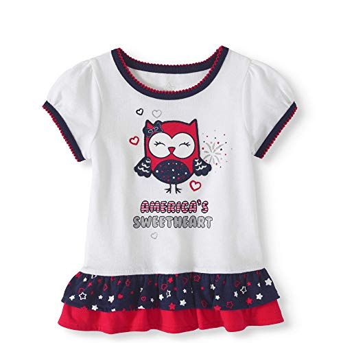 Infant Baby and Toddler Girls Soft Knit Americana USA Theme Separates (Glitter Trim America's Sweetheart Owl Top, 18 ()
