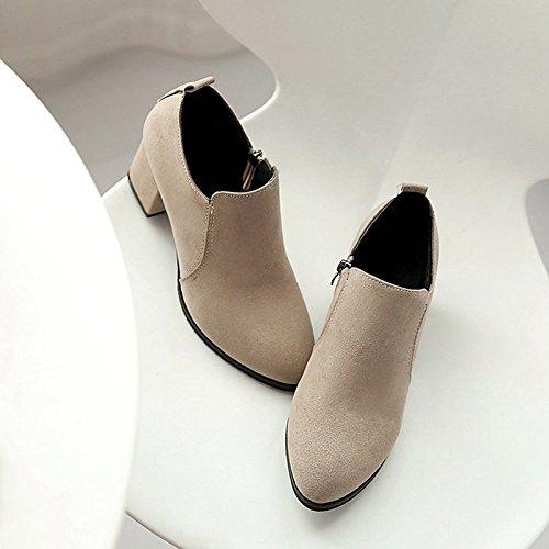 puntera mujer botines Nubuck marrón botines Confort Cuero Black HSXZ redonda de de gamuza de Invierno botas Chunky talón Otoño ocasional Zapatos moda botas nRXfUXqZ