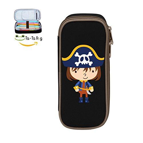 Pen Case Cute Pirate Pencil Bag Big Capacity Multifunction Canvas-Black for child (Clip Holder Paper Pirates)