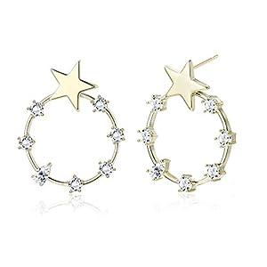 KesaPlan 18K Gold Star Earrings Minimalist Round Crystal Stud Earrings, Made from Swarovski Crystal, Sterling Silver Pin…