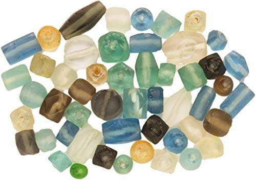 Recycled Glass Beads - Curious Designs Beads - Recycled Glass - 35+ Pcs, Assorted, Most In Pairs. Always Extras