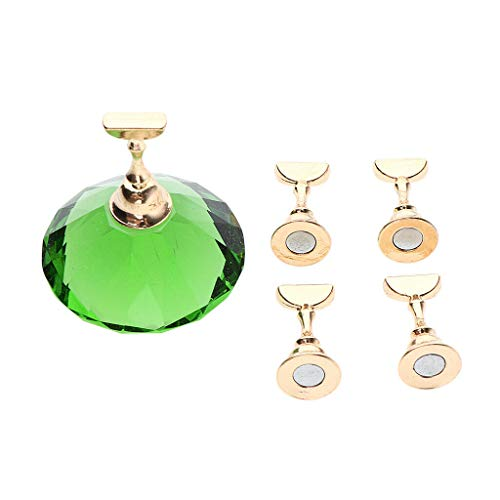 5pcs Magnetic Nail Art Tips Holder Salon Practice Display Stand Crystal Base (Color - Green)