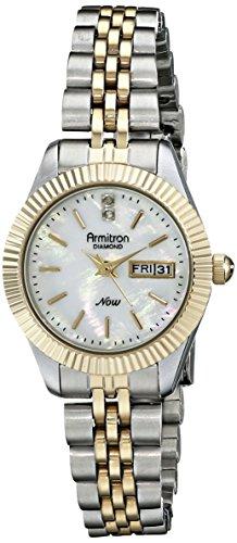 Two Tone Track Link Bracelet - Armitron Women's 75/5201MPTT Diamond-Accented Two-Tone Bracelet Watch