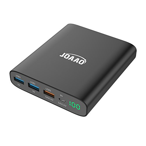 JOAAO Powerbar II Ultra Slim PowerBank 12000 mAh Quick Charge 3.0 for iPhones, Androids, Samsung Galaxy & More | Aluminum Material & Silver Color w/Digital Display - SPECS: QC 3.0, USB 1, 2 & 3, 310g by JOAAO