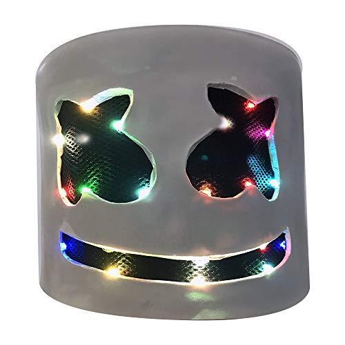 JaCos DJ Marshmello Mask Led Marshmello Helmet Cosplay Full Head Latex Mask Music (color-light) -