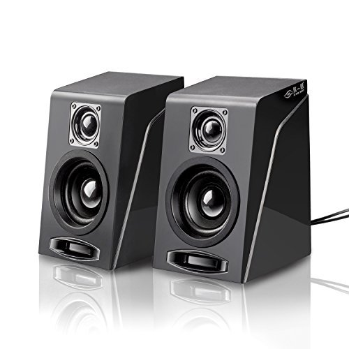 USB Powered Computer Speakers, Wired Stereo Desktop Bookshelf Laptop Speakers with Volume Control Ideal for Notebook, Laptop, PC, Desktop Tablet