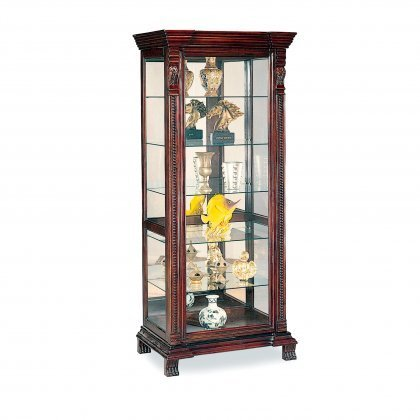 Coaster-Curio-Cabinets-4715-32-Curio-Cabinet-with-5-Glass-Shelves-Ornate-Edges-Decorative-Claw-Feet-and-Intricate-Moldings-in-Brown-Red