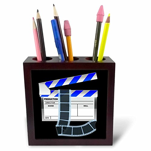 Anne Marie Baugh Hollywood - Blue and White Movie Clapboard - 5 inch tile pen holder (ph_101294_1)