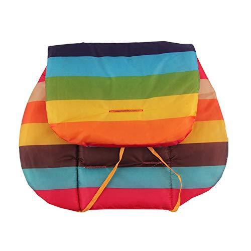 Portable Baby Stroller Seat Cushion Cotton Stripe Baby Car Waterproof Pad Stroller Accessories Pram Rainbow Cotton Thick Mat