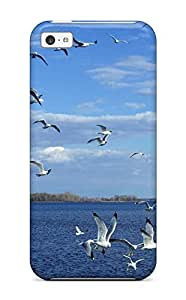 Awesome Birds On Sea Flip Case With Fashion Design For Iphone 5c