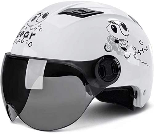 NJ ヘルメット- 日焼け止めUV保護ヘルメット夏ポータブルハーフヘルメット多色 (Color : White bear, Size : 56-62cm)
