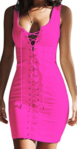 Deep Dress Neck Mini Sexy Lace Club up Women Domple Backless V Rose Bodycon qAIfFxw