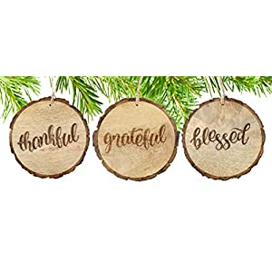 SAM + OLLIE FURNISHINGS Large Rustic Christmas Ornaments with Thankful, Grateful & Blessed (Set of 3) 4 inch; Round Wooden Farmhouse Decor Country Indoor Decorations 39