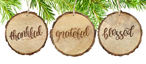 - SAM + OLLIE FURNISHINGS Large Rustic Christmas Ornaments with Thankful, Grateful & Blessed (Set of 3) 4 inch; Round Wooden Farmhouse Decor Country Indoor Decorations