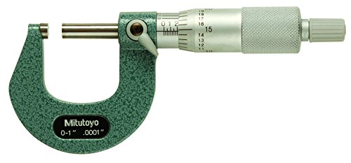 Mitutoyo 103-260CAL Calibrated Outside Micrometer, Baked-Enamel Finish, Ratchet Stop, 0-1