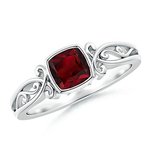 4902db801568b Amazon.com: Vintage Style Natural Cushion Garnet Solitaire Ring (5mm ...