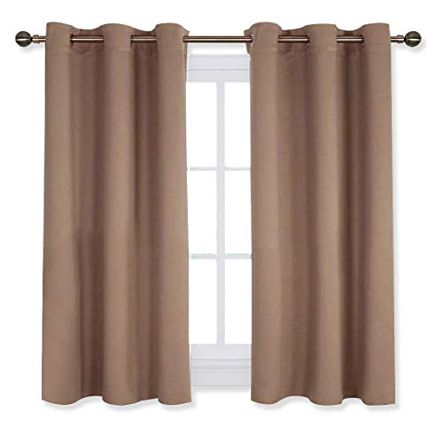 (NICETOWN Window Draperies Blackout Curtain Panels, Window Treatment Thermal Insulated Solid Grommet Blackout Drapes for Bedroom (One Pair,42 by 54 Inch,Cappuccino))