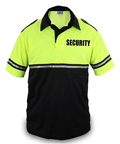 Two Tone Security Bike Patrol Shirt with Reflective Stripes and Zipper Pocket (Lime Green and Black) (Small) (Zipper Two Tone)