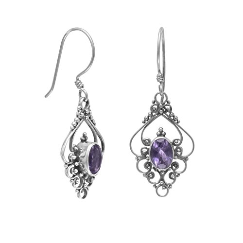 French Wire Scroll Design Earrings - Sterling Silver French Wire Earrings, Bali Scroll Design, 5x7mm Amethyst Ovals, 1 inch long