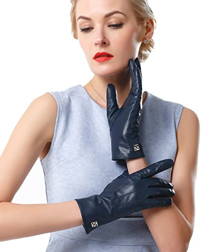 Lady In The Navy Gloves (NappaNovum Women's Classic Nappa Leather Gloves Lambskin Winter Warm Lining Fashion Gloves (Touchscreen or Non-Touchscreen) (L, Dark Navy Touch))