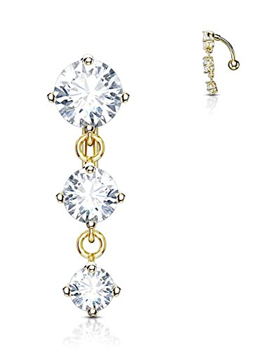 (Forbidden Body Jewelry 14k Gold Plated Surgical Steel Sexy Dangle Reverse Mount Triple CZ Vertical Drop Belly Ring)