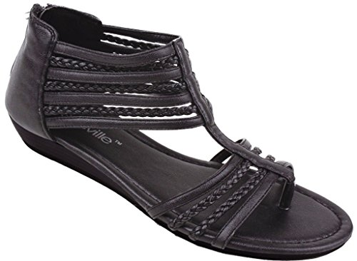 Hazel's Star Braided Straps Gladiator Sandal with Back Zip Closure and Padded Insole, Black, 10 (M) US