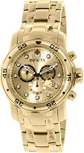 Invicta 74 Mens Pro Diver Quartz Chronograph Gold Dial Watch