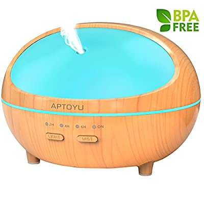 Essential oil diffuser, 300ml Wood Grain Ultrasonic Aromatherapy Diffuser with Timer, Waterless Auto Shut-Off, Mist Adjustable and 7 LED Colors for Baby Home Kitchen Spa Office