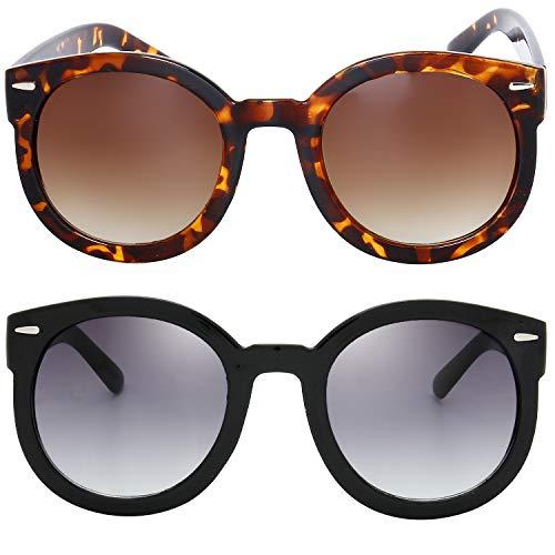 The Fresh Women's Designer Inspired Oversized Round Circle Sunglasses Retro Fashion Style (21-Black & Tortoise, Black & Brown)