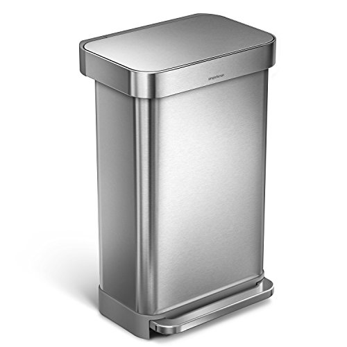 simplehuman 45 Liter/12 Gallon Stainless Steel Rectangular Kitchen Step Trash Can with Liner Pocket, Brushed Stainless - Trash Cans Step