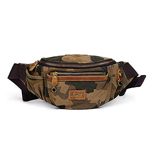Kemy's Men's Canvas Bag Waist Packs Travel Belt Bags Men Hip Bum Bag Vintage for Traveling, Camo, Easter Gift