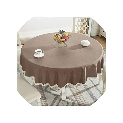 - Round Table Cloth Cotton Linen Table Cover Plaid Grid Pattern Christmas Tablecloth Lace Edge Wedding Party Decor Tablecloths,Dark Coffee,Diameter 160Cm Round