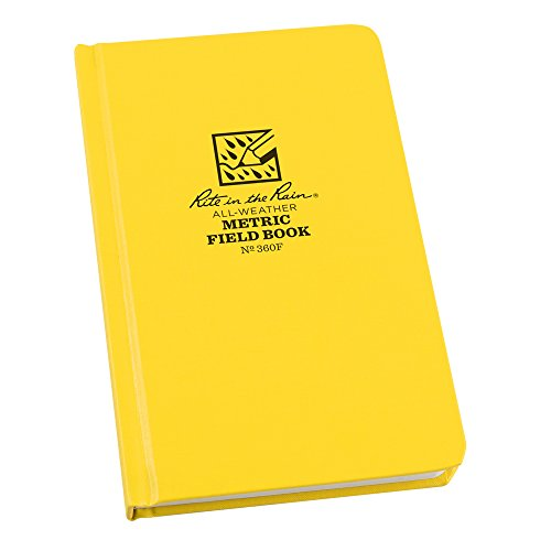 Rite in the Rain All Weather Hard Cover Notebook, 4 3/4' x 7 1/2', Yellow Cover, Metric Field Pattern (No. 360F)