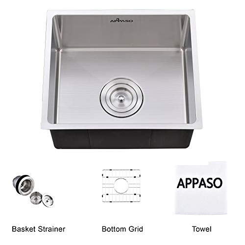 APPASO 15-Inch Single Bowl Kitchen Sink Undermount, 18-Gauge Stainless Steel Commercial Handmade 10-Inch Deep Drop-in Laundry Utility Sink, - Towel Bar Hardware Resources