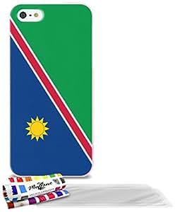 """Carcasa Flexible Ultra-Slim APPLE IPHONE 5 de exclusivo motivo [Bandera Namibia ] [Rosa] de MUZZANO  + 3 Pelliculas de Pantalla """"UltraClear"""" + ESTILETE y PAÑO MUZZANO REGALADOS - La Protección Antigolpes ULTIMA, ELEGANTE Y DURADERA para su APPLE IPHONE 5"""