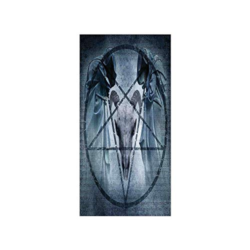 (3D Decorative Film Privacy Window Film No Glue,Horror House Decor,Artwork with Pentagram Icon Goat Skull Devil Dream Hoody Figure Exorcist Image,Blue,for Home&Office)