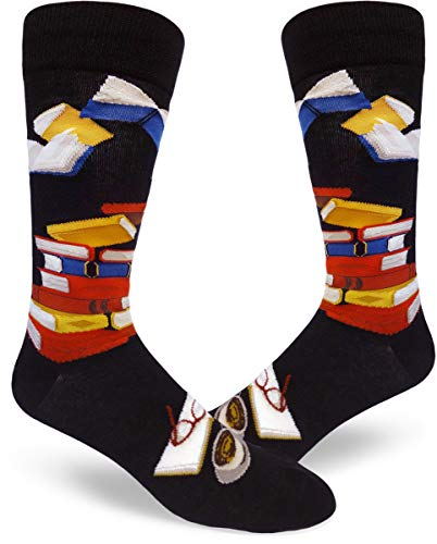 ModSocks Men's Bibliophile Men's Crew Socks in Black (Fits Most Men Shoe Size 8-13)