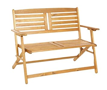 Pair Of 2 Seater Folding Wooden Garden Benches   Slatted Outdoor Furniture  Patio