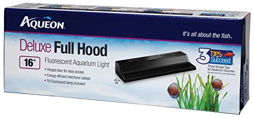 Aqueon T8 Fluorescent Deluxe Full Hoods, Black, 16-Inch by All Glass Aquariums
