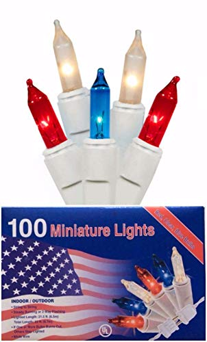 Holiday Essentials Patriotic Christmas Lights - Red Blue & White Frost Mini Lights on White Wire - For Indoor & Outdoor Use - UL Listed - Set of -